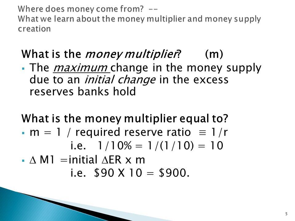 Excess Reserve ratio = e = ER/D; where D = Checkable Deposits.