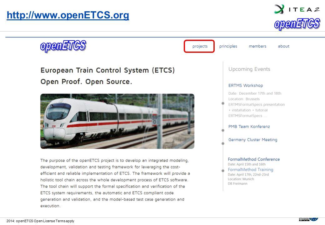 https://github.com/openETCShttp://www.openETCS.org 2014: openETCS Open License Terms apply