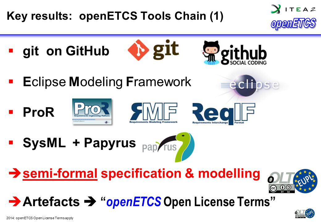 """ git on GitHub  Eclipse Modeling Framework  ProR  SysML + Papyrus  semi-formal specification & modelling  Artefacts  """" openETCS Open License Te"""