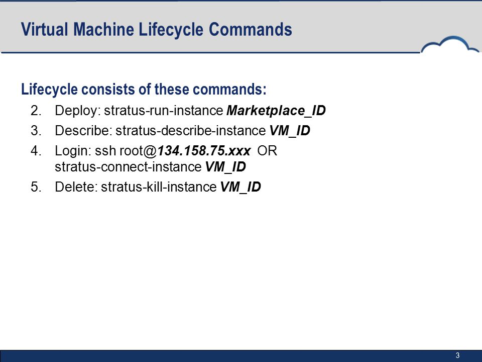 3 Virtual Machine Lifecycle Commands Lifecycle consists of these commands: 2.Deploy: stratus-run-instance Marketplace_ID 3.Describe: stratus-describe-instance VM_ID 4.Login: ssh root@134.158.75.xxx OR stratus-connect-instance VM_ID 5.Delete: stratus-kill-instance VM_ID