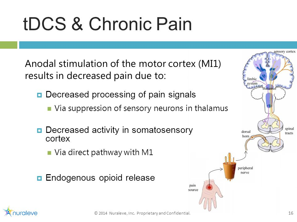 tDCS & Chronic Pain 16 © 2014 Nuraleve, Inc. Proprietary and Confidential.