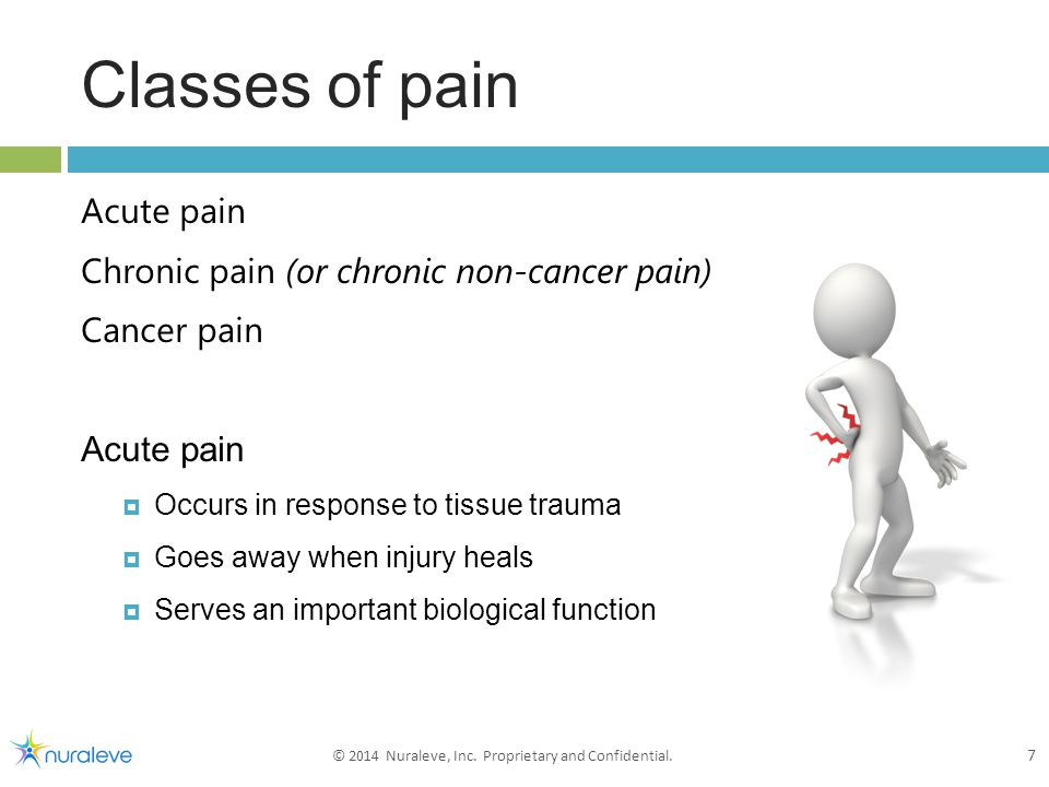 Classes of pain Acute pain Chronic pain (or chronic non-cancer pain) Cancer pain Acute pain  Occurs in response to tissue trauma  Goes away when injury heals  Serves an important biological function 7 7 © 2014 Nuraleve, Inc.