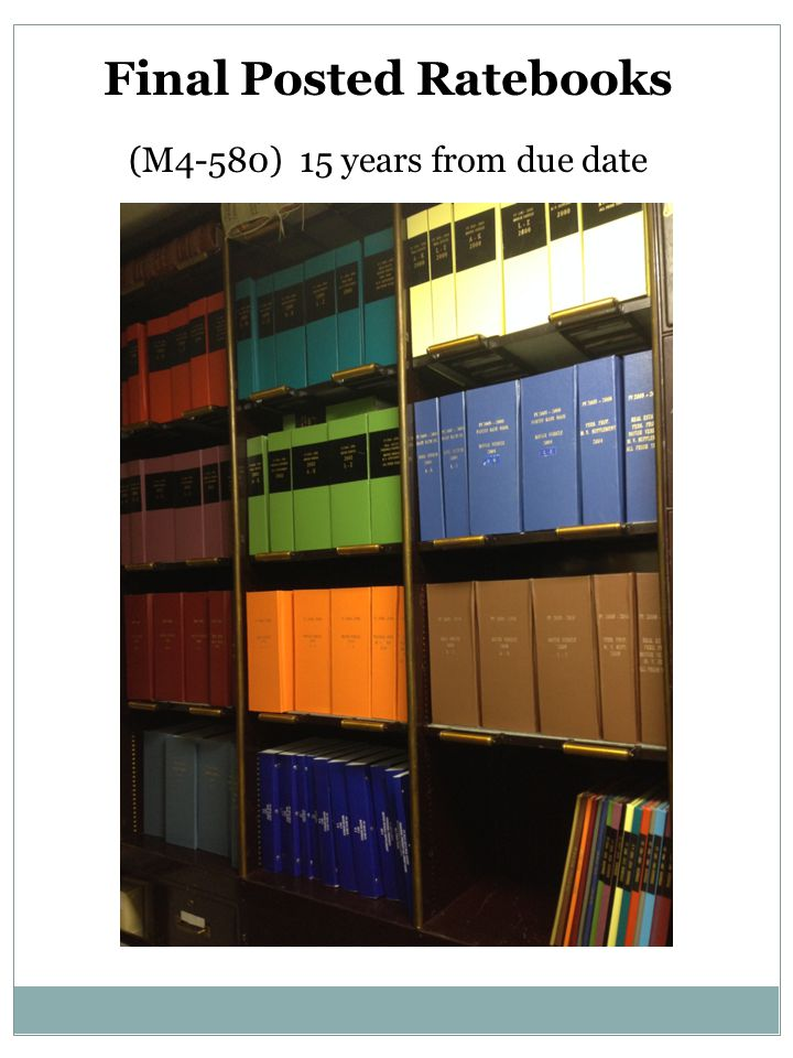 Final Posted Ratebooks (M4-580) 15 years from due date