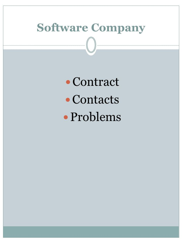 Software Company Contract Contacts Problems