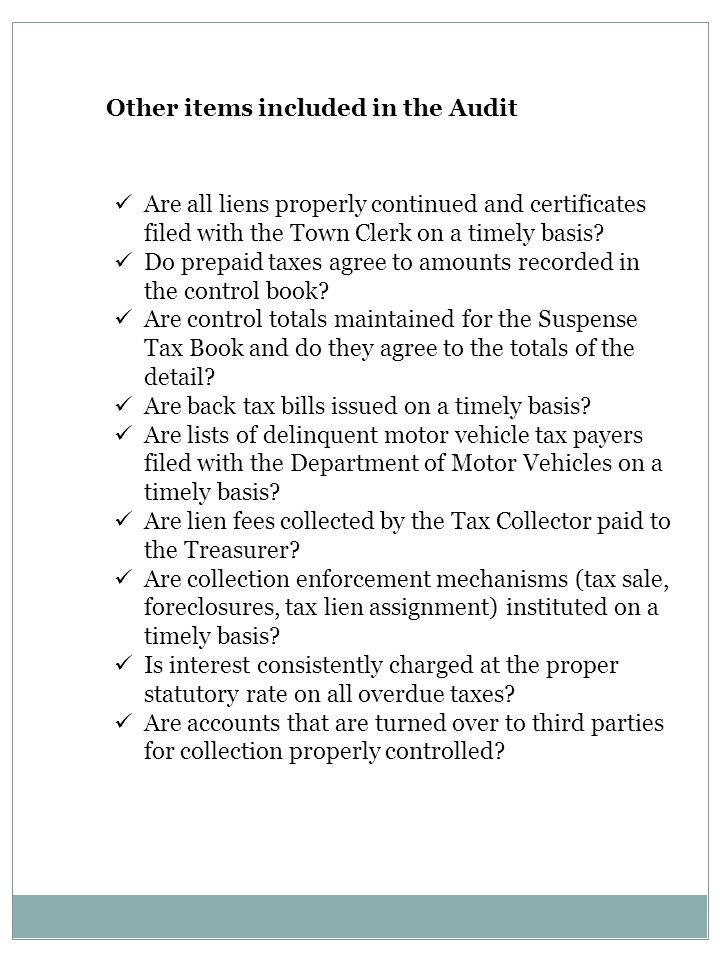Are all liens properly continued and certificates filed with the Town Clerk on a timely basis? Do prepaid taxes agree to amounts recorded in the contr