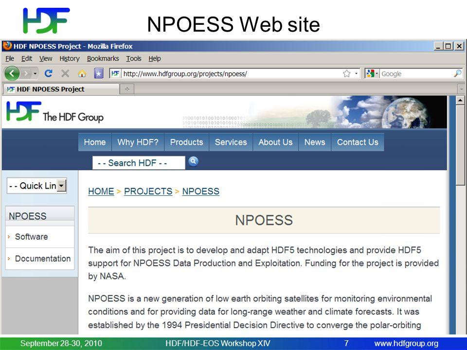 www.hdfgroup.org NPOESS Web site September 28-30, 20107HDF/HDF-EOS Workshop XIV