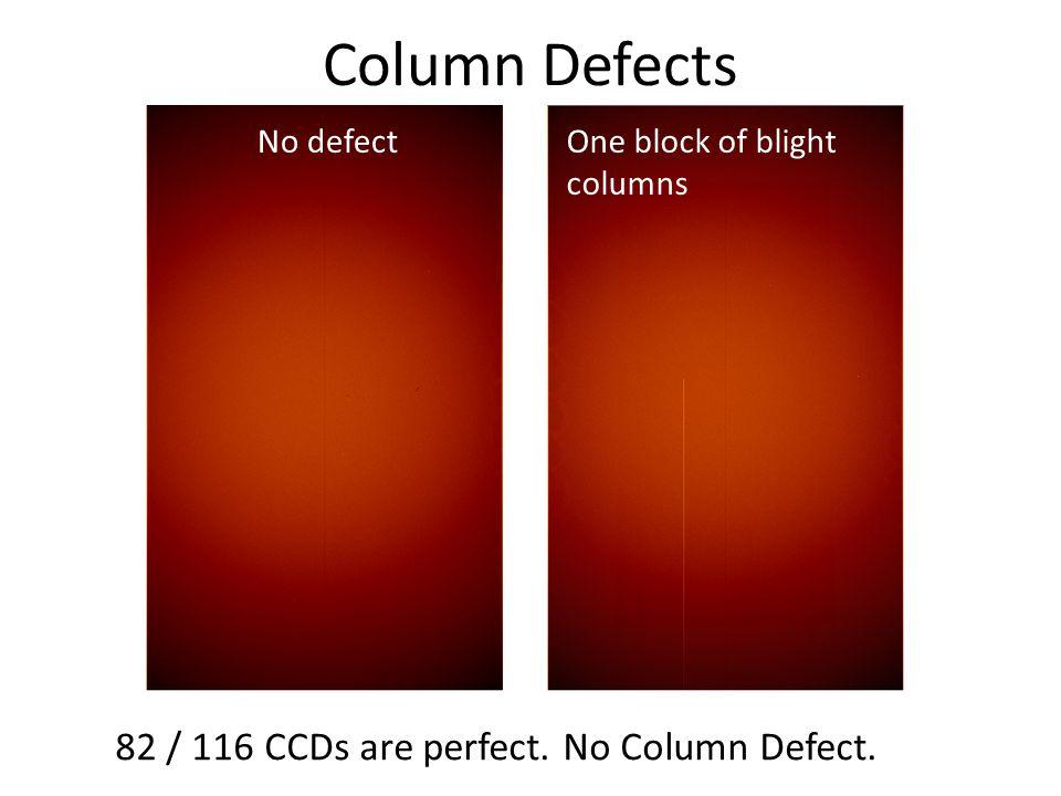 Column Defects No defectOne block of blight columns 82 / 116 CCDs are perfect. No Column Defect.
