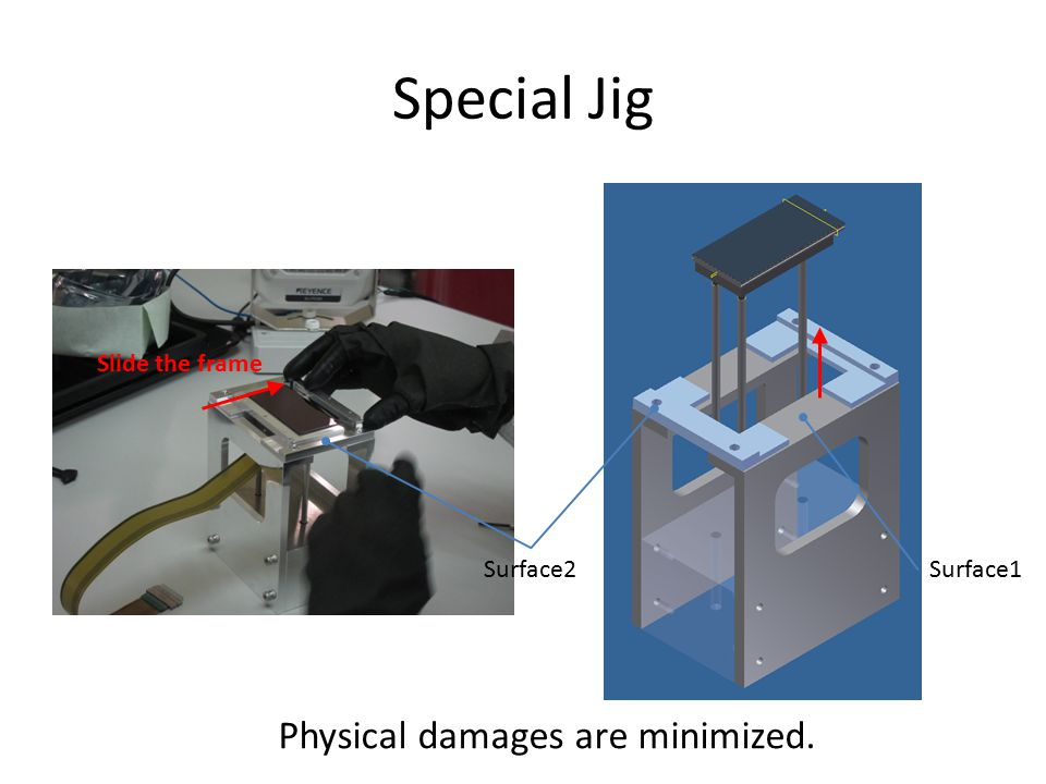 Special Jig CCD の Carry 用アルミ枠を取るためのジグ 主な目的は, CCD を物理的に壊さないため! Physical damages are minimized.