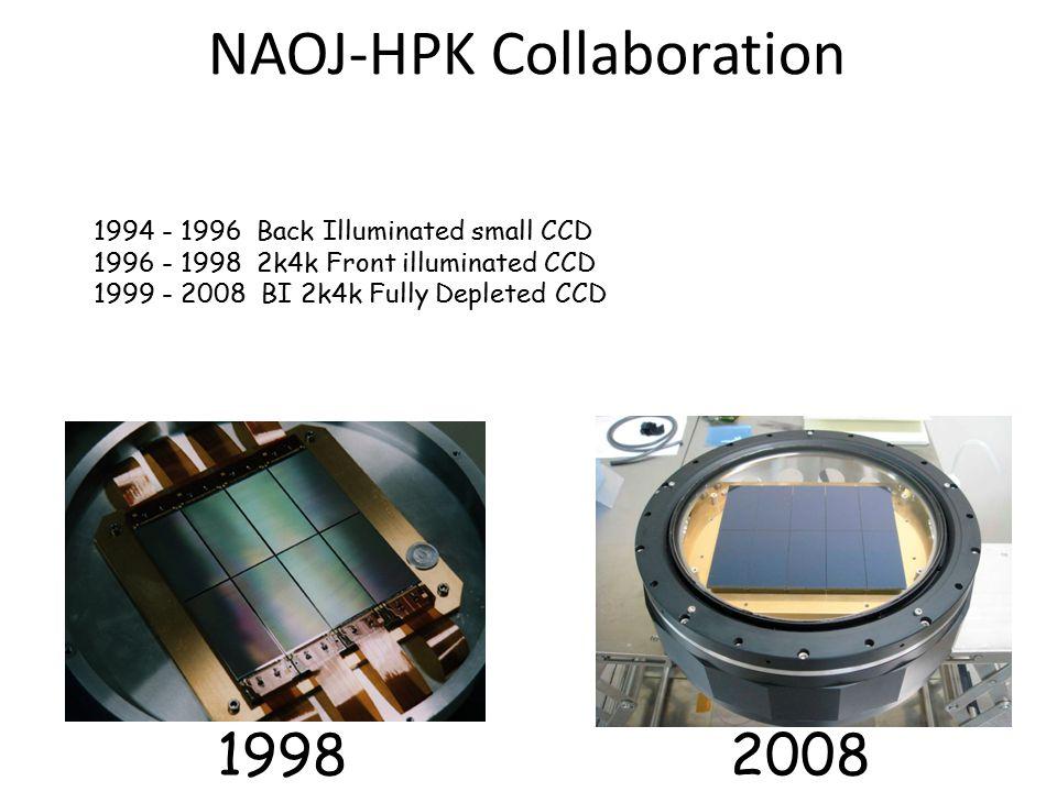 NAOJ-HPK Collaboration 1994 - 1996 Back Illuminated small CCD 1996 - 1998 2k4k Front illuminated CCD 1999 - 2008 BI 2k4k Fully Depleted CCD 19982008