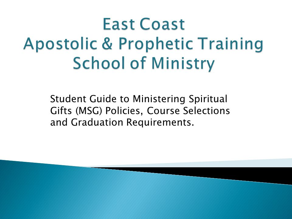 Student Guide to Ministering Spiritual Gifts (MSG) Policies, Course Selections and Graduation Requirements.