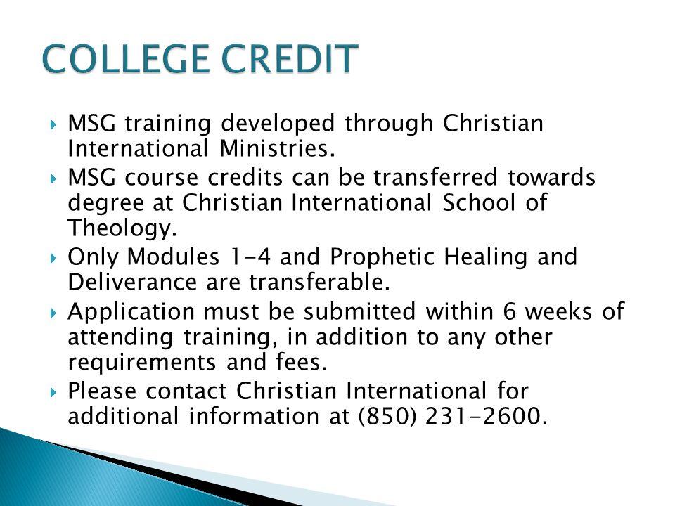  MSG training developed through Christian International Ministries.