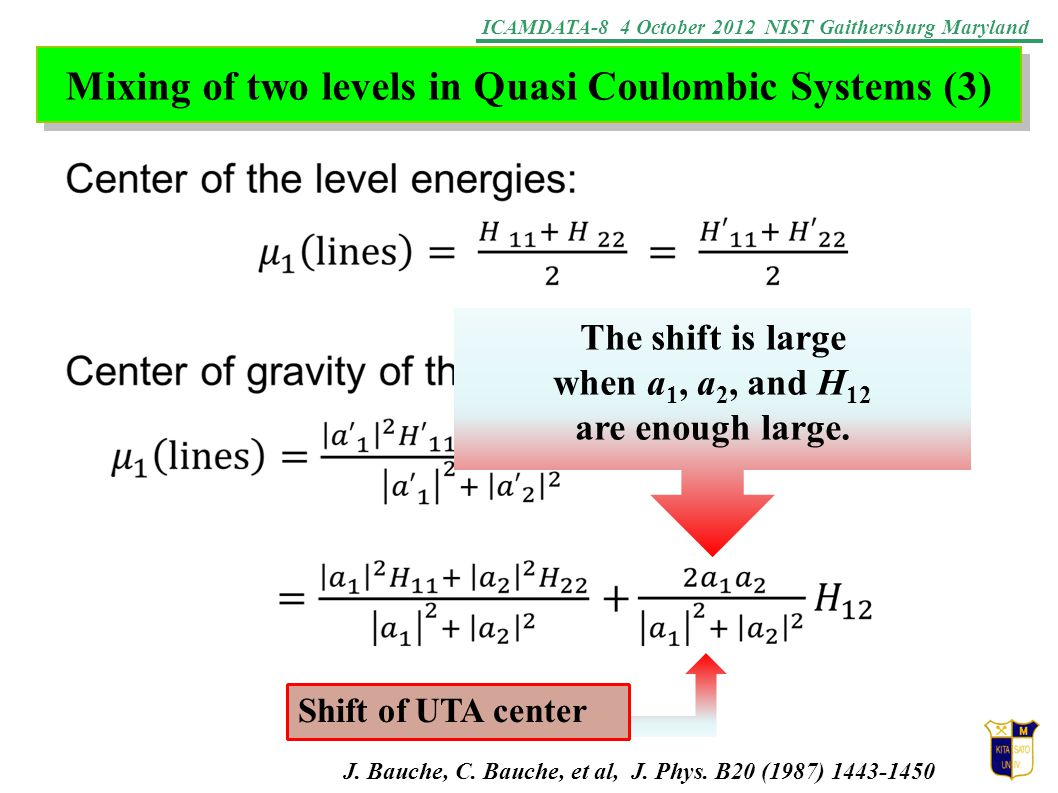 ICAMDATA-8 4 October 2012 NIST Gaithersburg Maryland Mixing of two levels in Quasi Coulombic Systems (3) Shift of UTA center The shift is large when a