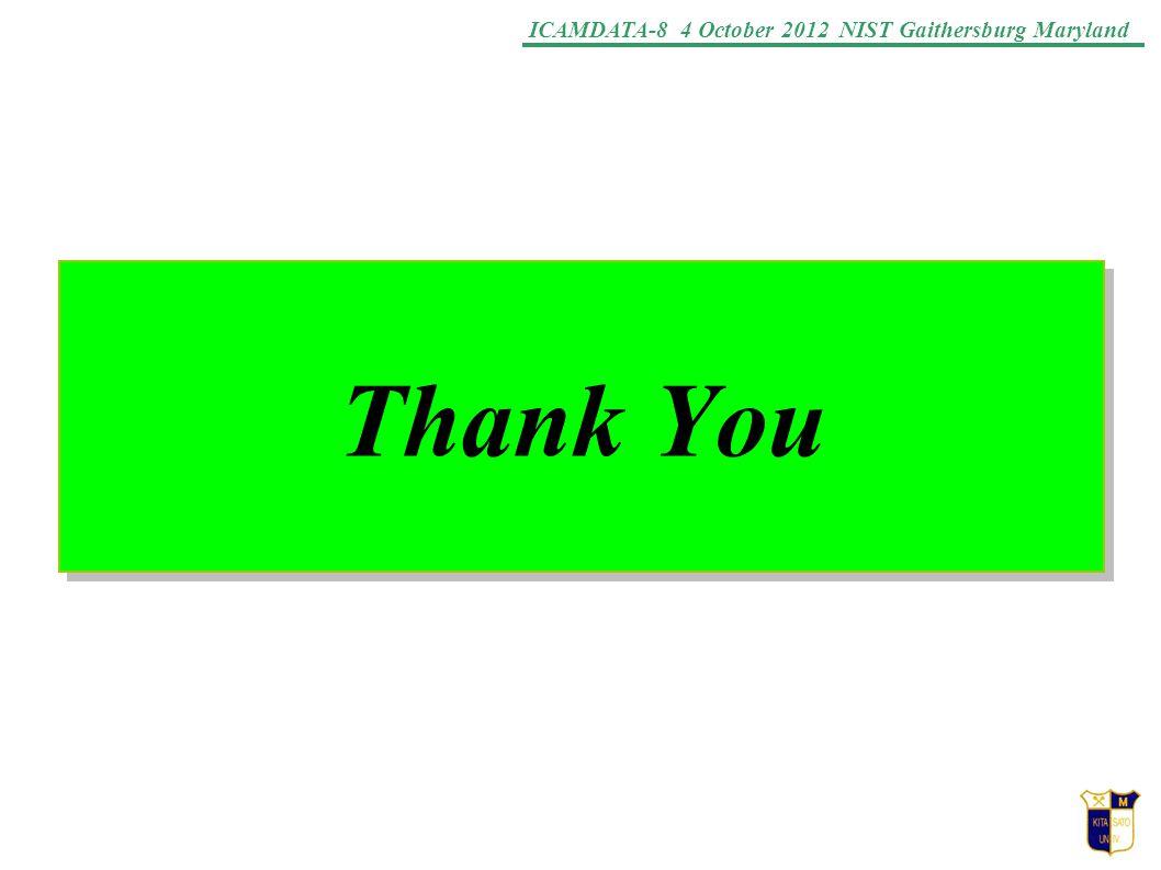 ICAMDATA-8 4 October 2012 NIST Gaithersburg Maryland Thank You