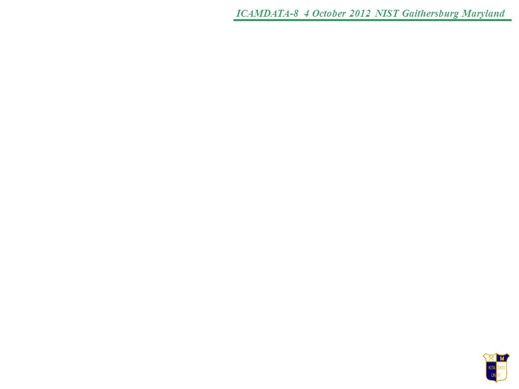 ICAMDATA-8 4 October 2012 NIST Gaithersburg Maryland