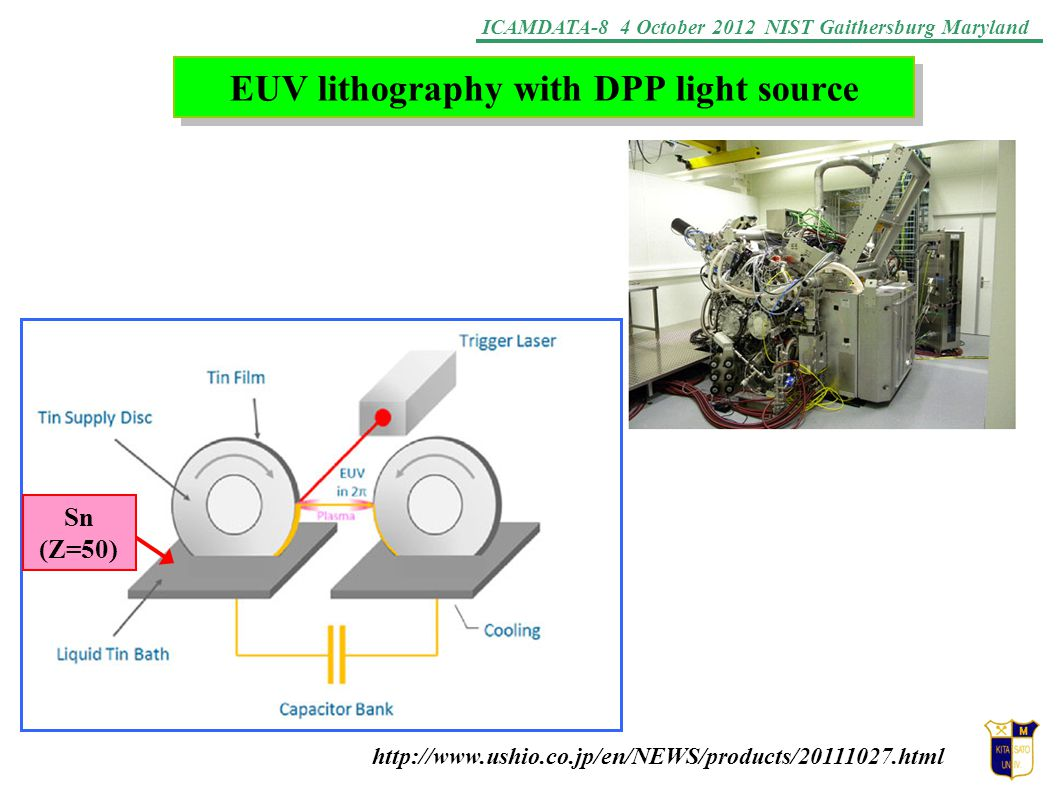 ICAMDATA-8 4 October 2012 NIST Gaithersburg Maryland EUV lithography with DPP light source http://www.ushio.co.jp/en/NEWS/products/20111027.html Sn (Z=50)