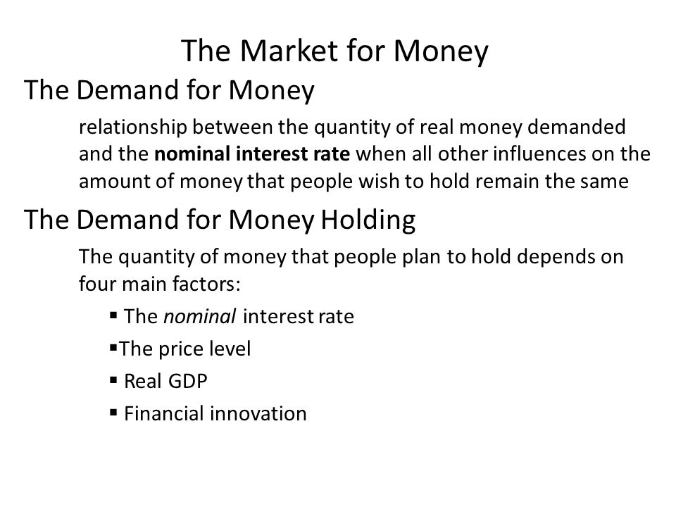 The Market for Money The Demand for Money relationship between the quantity of real money demanded and the nominal interest rate when all other influe