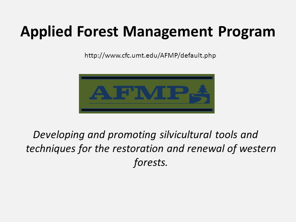 Applied Forest Management Program Developing and promoting silvicultural tools and techniques for the restoration and renewal of western forests.