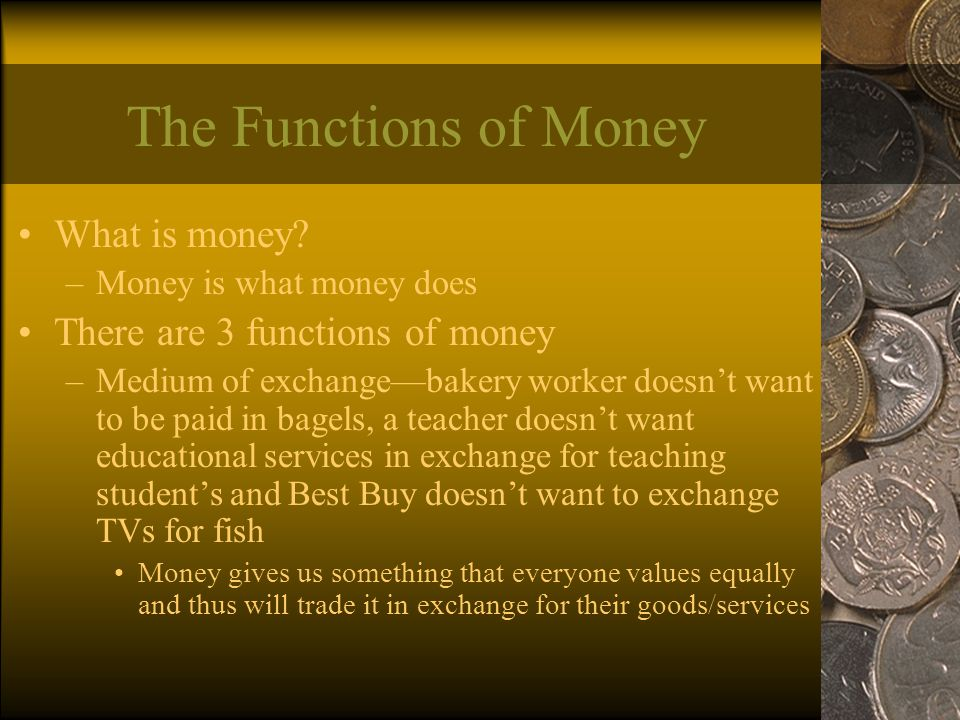 The Functions of Money What is money.