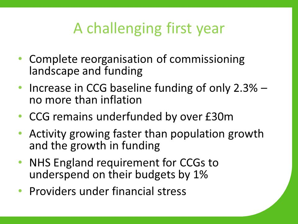 A challenging first year Complete reorganisation of commissioning landscape and funding Increase in CCG baseline funding of only 2.3% – no more than inflation CCG remains underfunded by over £30m Activity growing faster than population growth and the growth in funding NHS England requirement for CCGs to underspend on their budgets by 1% Providers under financial stress