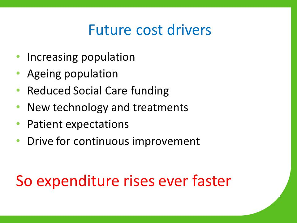 Future cost drivers Increasing population Ageing population Reduced Social Care funding New technology and treatments Patient expectations Drive for continuous improvement So expenditure rises ever faster