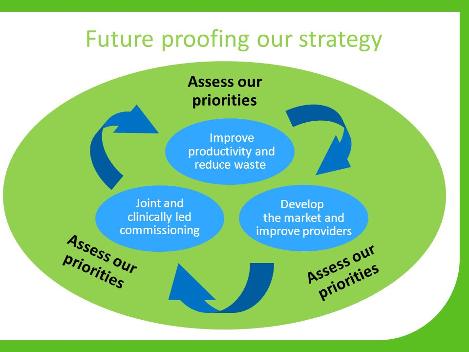 Future proofing our strategy Develop the market and improve providers Improve productivity and reduce waste Joint and clinically led commissioning Assess our priorities