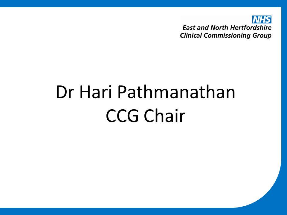 Dr Hari Pathmanathan CCG Chair