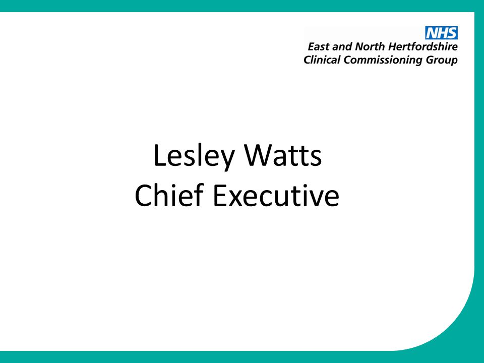 Lesley Watts Chief Executive