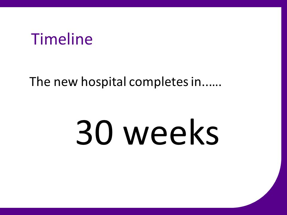 Timeline The new hospital completes in..…. 30 weeks
