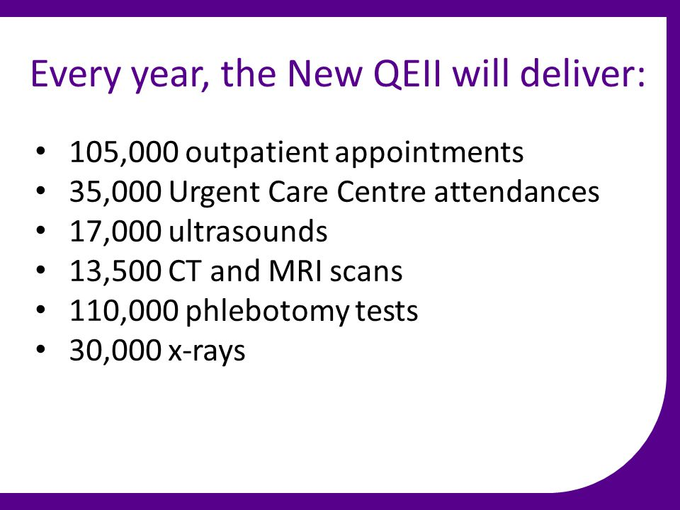 Every year, the New QEII will deliver: 105,000 outpatient appointments 35,000 Urgent Care Centre attendances 17,000 ultrasounds 13,500 CT and MRI scan