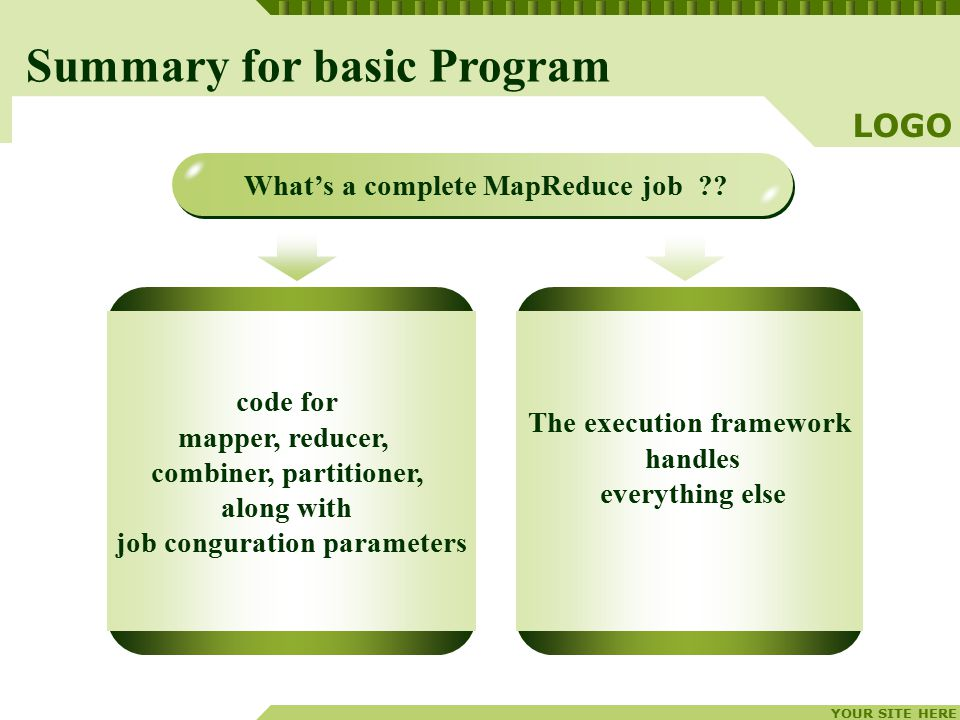 YOUR SITE HERE LOGO code for mapper, reducer, combiner, partitioner, along with job conguration parameters The execution framework handles everything else Summary for basic Program What's a complete MapReduce job