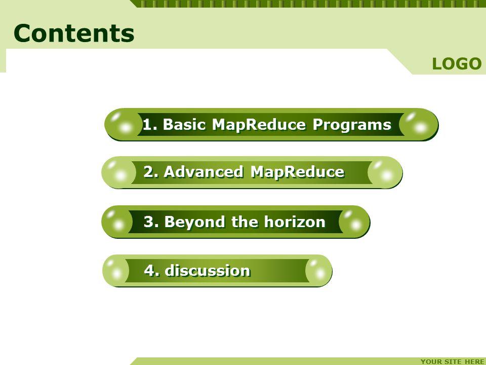 YOUR SITE HERE LOGO 1. Basic MapReduce Programs 2.