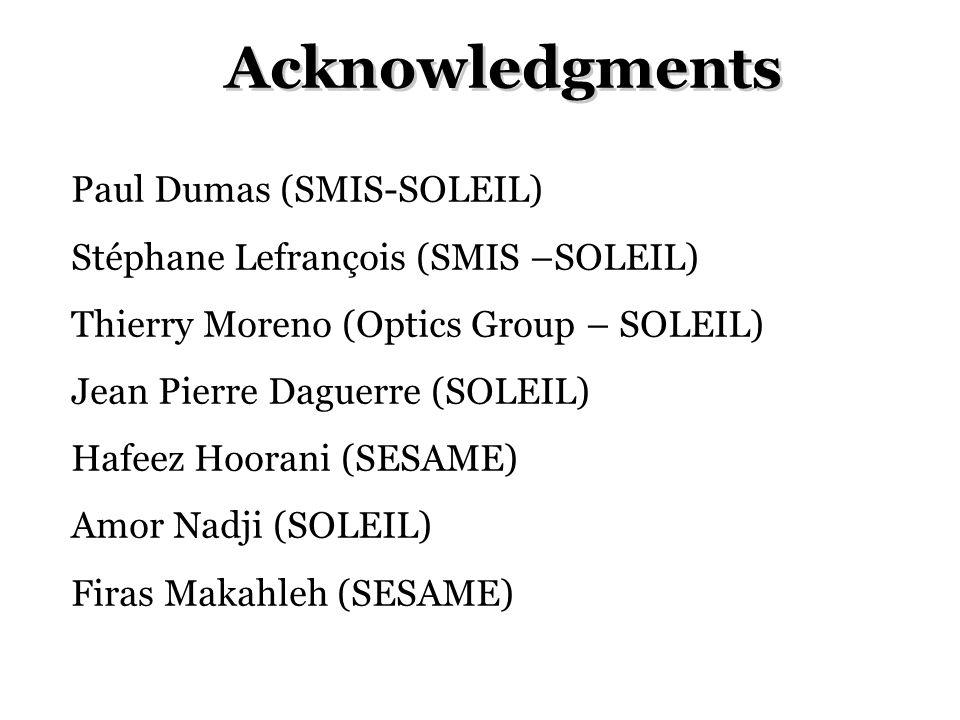 Acknowledgments Paul Dumas (SMIS-SOLEIL) Stéphane Lefrançois (SMIS –SOLEIL) Thierry Moreno (Optics Group – SOLEIL) Jean Pierre Daguerre (SOLEIL) Hafeez Hoorani (SESAME) Amor Nadji (SOLEIL) Firas Makahleh (SESAME)