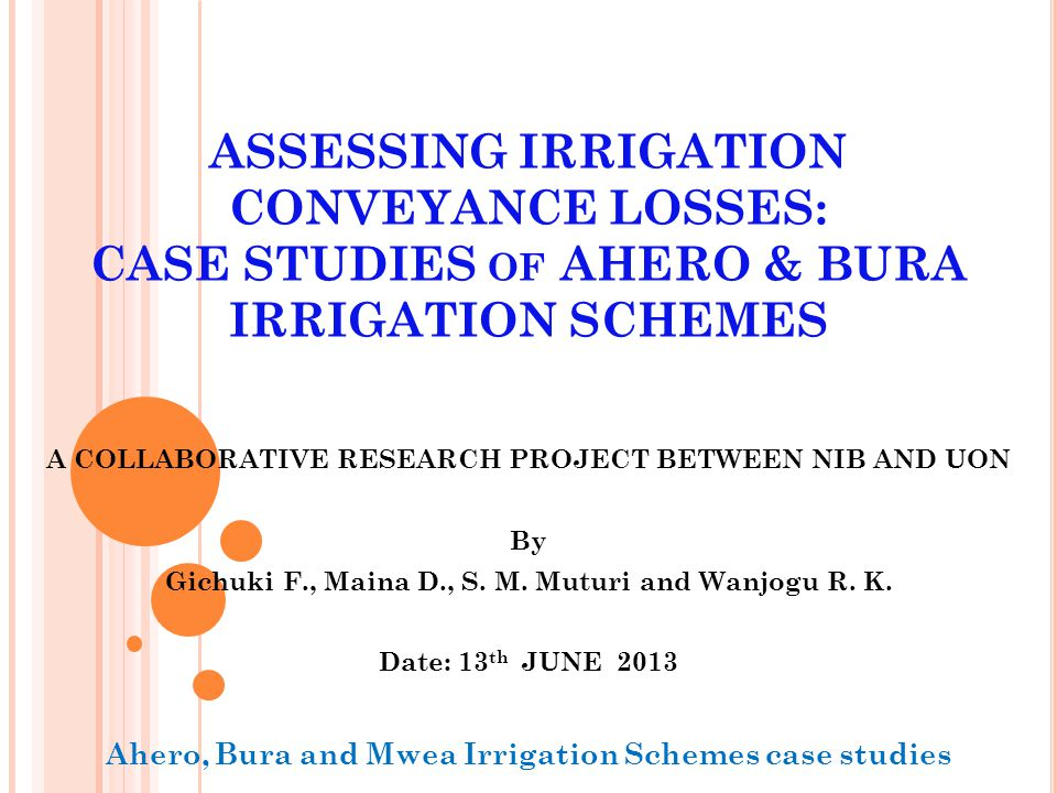 P RESENTATION OUTLINE Introduction Objectives Methodology Research results Acknowledgements 2 AIS & BIS water loss study-NIB & UON
