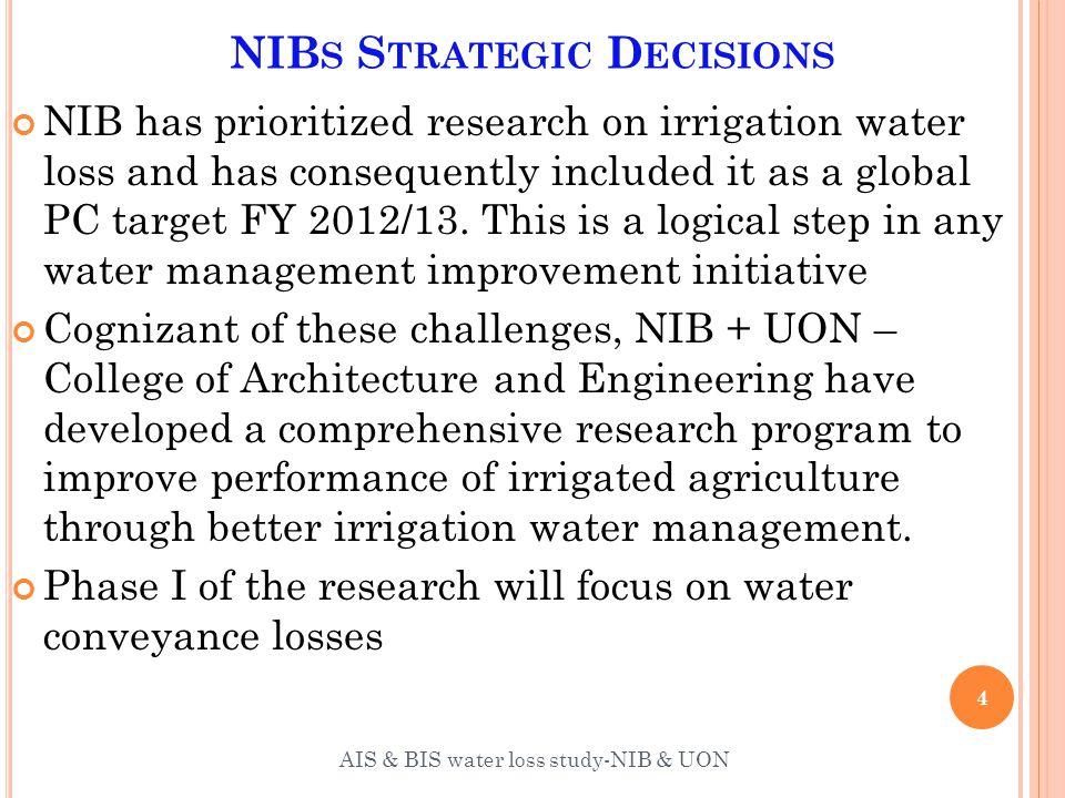 M ETHODOLOGY : W ATER BALANCE MODELING Elements of the water balance model 25 AIS & BIS water loss study-NIB & UON