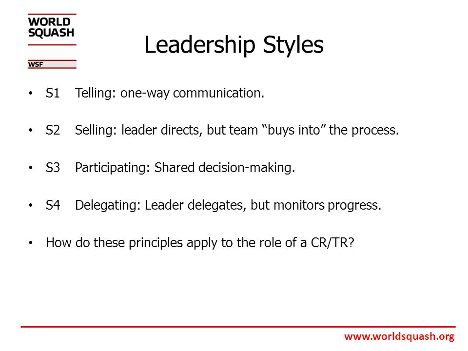 www.worldsquash.org Leadership Styles S1Telling: one-way communication.
