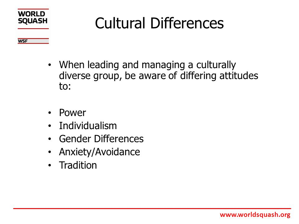 www.worldsquash.org Cultural Differences When leading and managing a culturally diverse group, be aware of differing attitudes to: Power Individualism Gender Differences Anxiety/Avoidance Tradition
