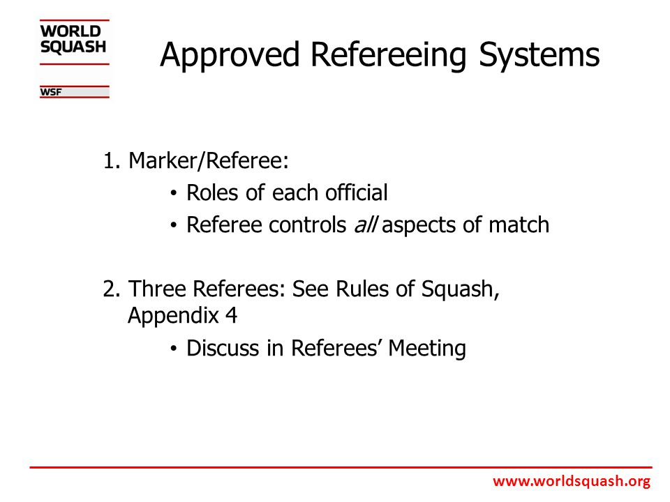 www.worldsquash.org Approved Refereeing Systems 1.