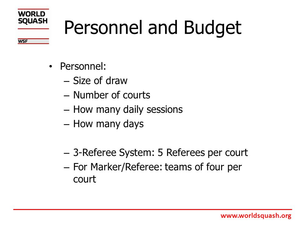 www.worldsquash.org Personnel and Budget Personnel: – Size of draw – Number of courts – How many daily sessions – How many days – 3-Referee System: 5 Referees per court – For Marker/Referee: teams of four per court