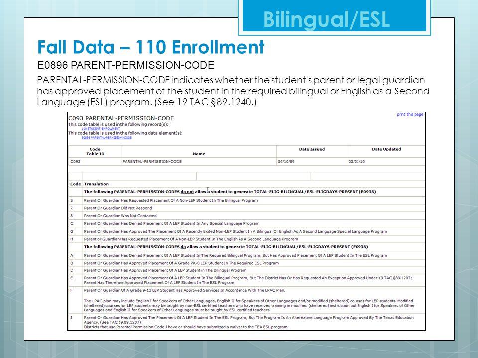 Fall Data – 110 Enrollment E0896 PARENT-PERMISSION-CODE Bilingual/ESL PARENTAL-PERMISSION-CODE indicates whether the student's parent or legal guardia