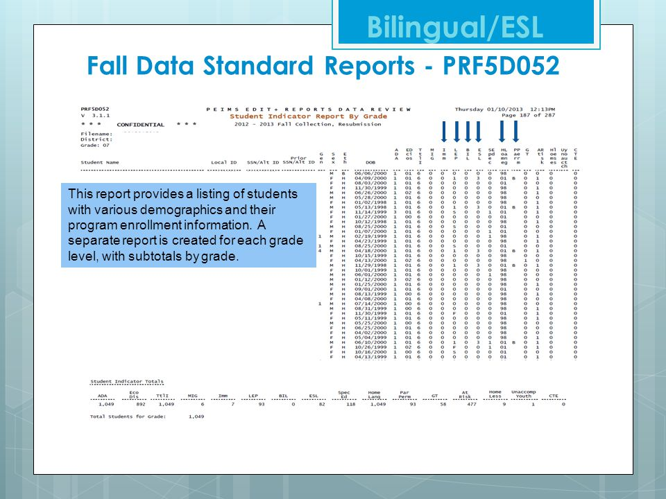 Fall Data Standard Reports - PRF5D052 Bilingual/ESL This report provides a listing of students with various demographics and their program enrollment