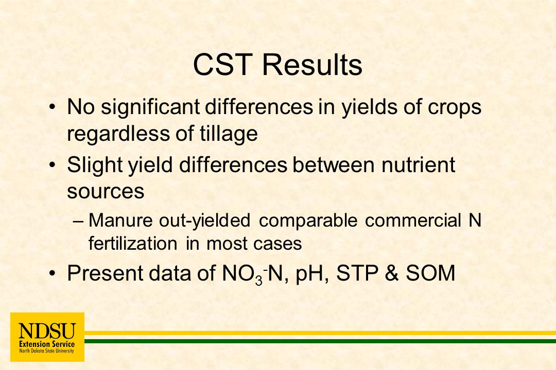 CST Results No significant differences in yields of crops regardless of tillage Slight yield differences between nutrient sources –Manure out-yielded comparable commercial N fertilization in most cases Present data of NO 3 - N, pH, STP & SOM