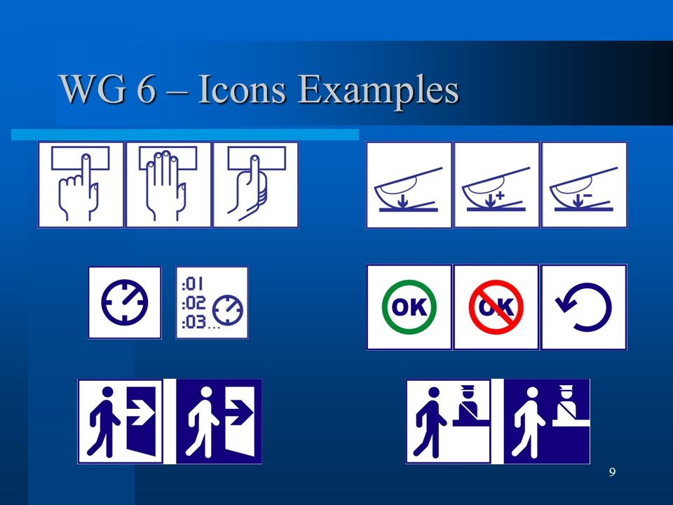 9 WG 6 – Icons Examples