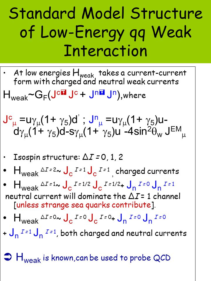 Standard Model Structure of Low-Energy qq Weak Interaction At low energies H weak takes a current-current form with charged and neutral weak currents H weak ~G F (J c  J c + J n  J n ), where J c  =u   (1+  5 )d ' ; J n  =u   (1+  5 )u- d   (1+  5 )d-s   (1+  5 )u -4sin 2  w J EM  Isospin structure: ∆I = 0, 1, 2 H weak ∆I = 2 ~ J c I = 1 J c I = 1, charged currents H weak ∆I = 1 ~ J c I = 1/2 J c I = 1/2 + J n I = 0 J n I = 1 neutral current will dominate the ∆I = 1 channel [unless strange sea quarks contribute].