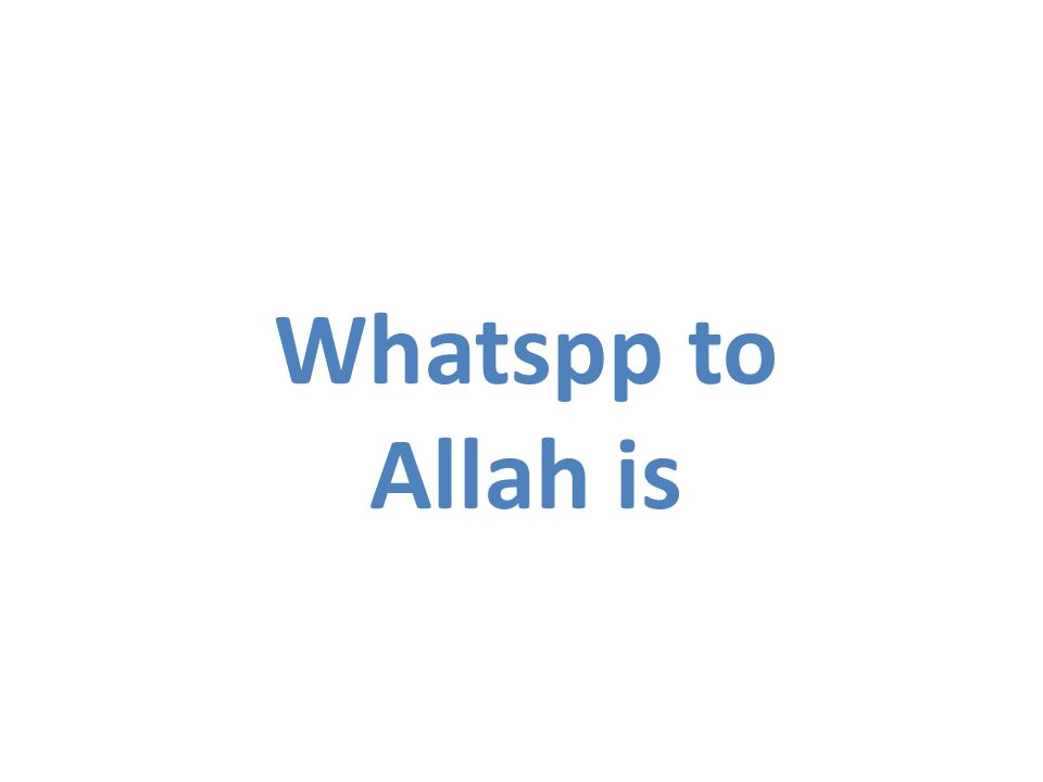 Whatspp to Allah is