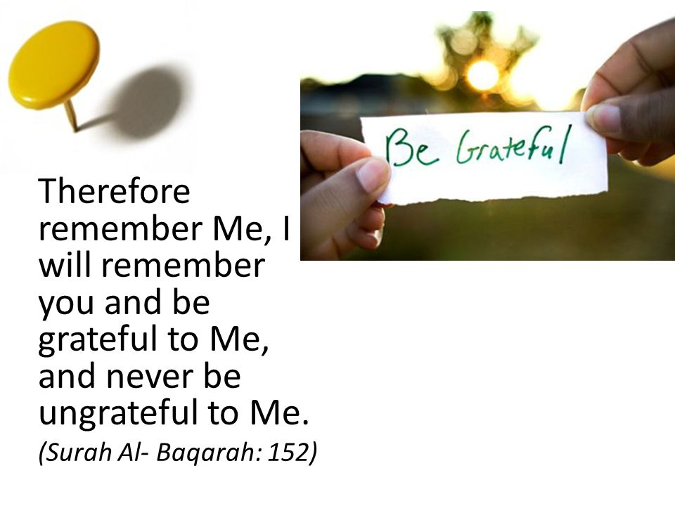Therefore remember Me, I will remember you and be grateful to Me, and never be ungrateful to Me. (Surah Al- Baqarah: 152)