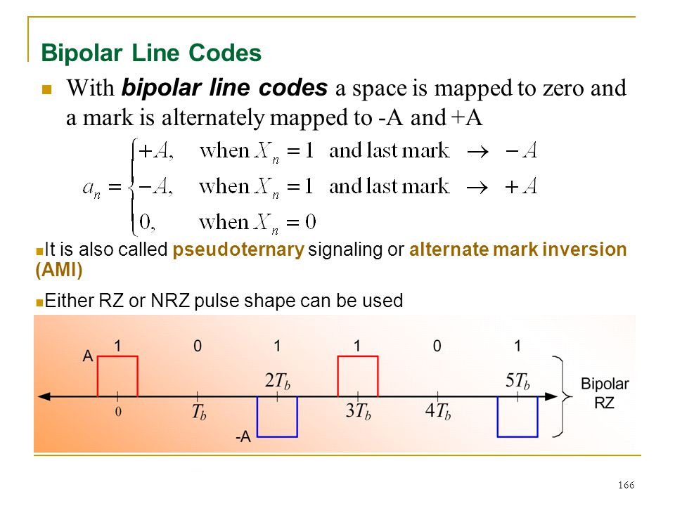 166 Bipolar Line Codes With bipolar line codes a space is mapped to zero and a mark is alternately mapped to -A and +A It is also called pseudoternary signaling or alternate mark inversion (AMI) Either RZ or NRZ pulse shape can be used