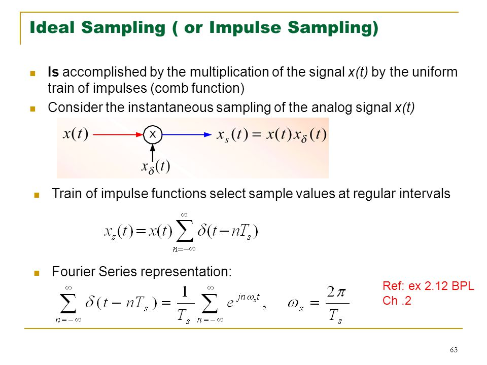63 Ideal Sampling ( or Impulse Sampling) Is accomplished by the multiplication of the signal x(t) by the uniform train of impulses (comb function) Consider the instantaneous sampling of the analog signal x(t) Train of impulse functions select sample values at regular intervals Fourier Series representation: Ref: ex 2.12 BPL Ch.2