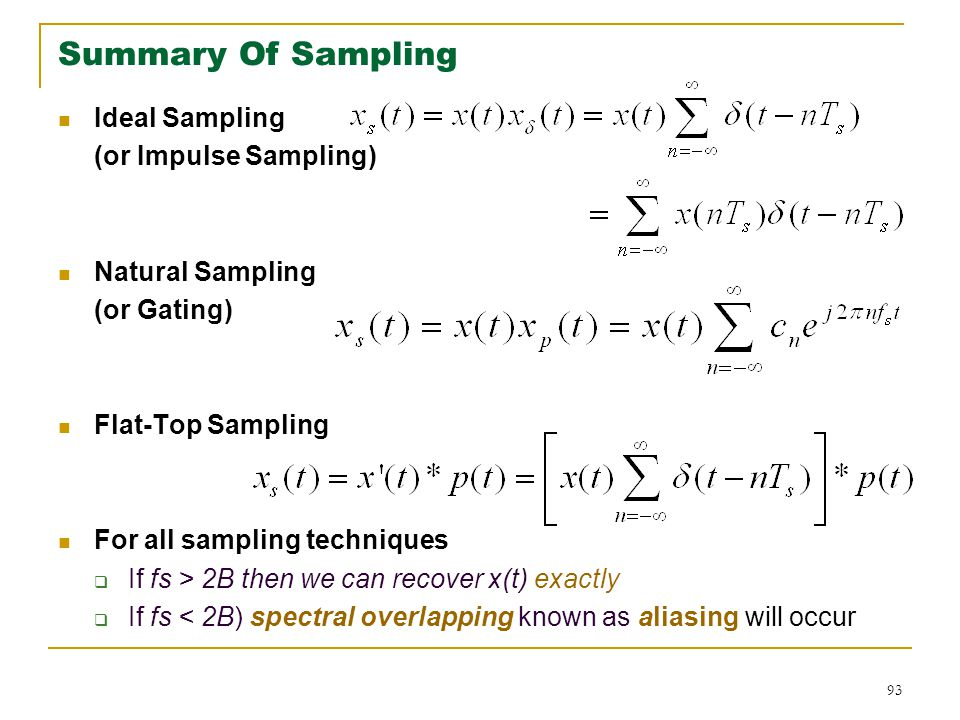 93 Summary Of Sampling Ideal Sampling (or Impulse Sampling) Natural Sampling (or Gating) Flat-Top Sampling For all sampling techniques  If fs > 2B then we can recover x(t) exactly  If fs < 2B) spectral overlapping known as aliasing will occur