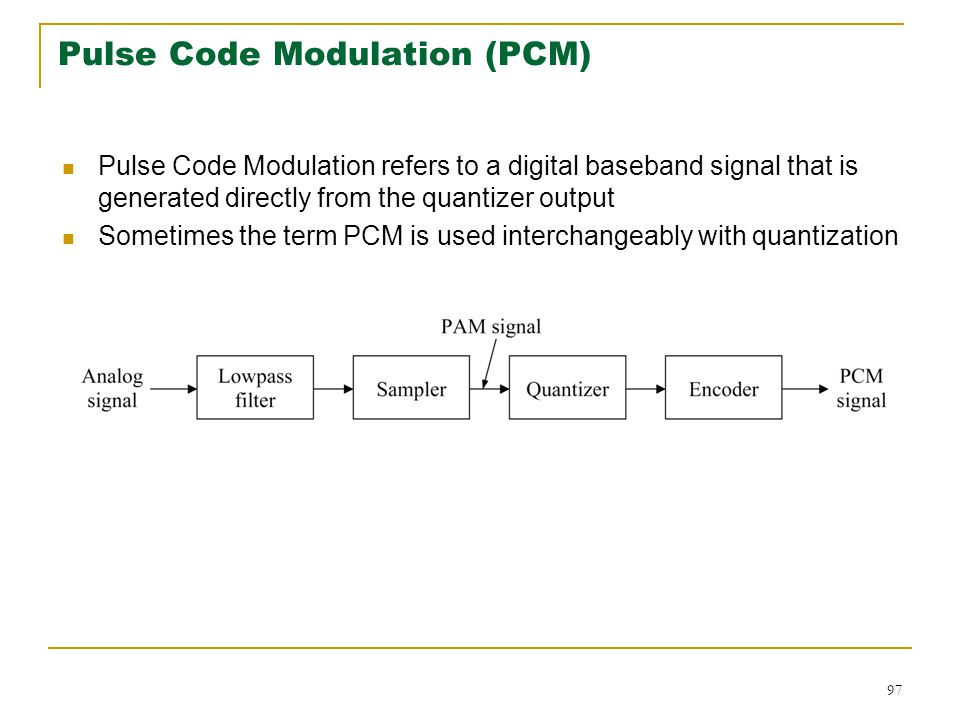 97 Pulse Code Modulation (PCM) Pulse Code Modulation refers to a digital baseband signal that is generated directly from the quantizer output Sometimes the term PCM is used interchangeably with quantization