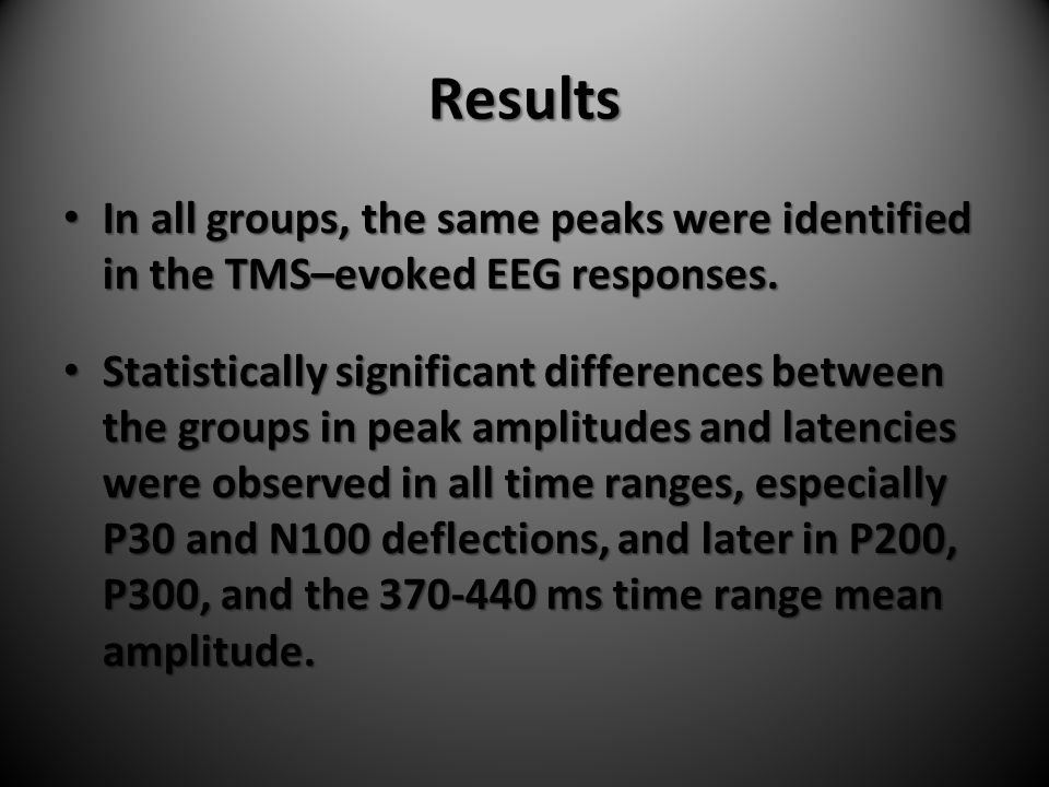 Results In all groups, the same peaks were identified in the TMS–evoked EEG responses.
